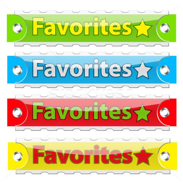 Wektora ulubione tag przyciski biały Zdjęcia stock © SolanD