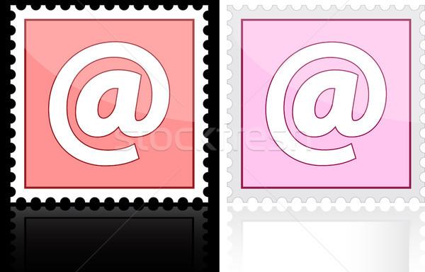 Icône courriel rose blanche lettre peinture Photo stock © SolanD