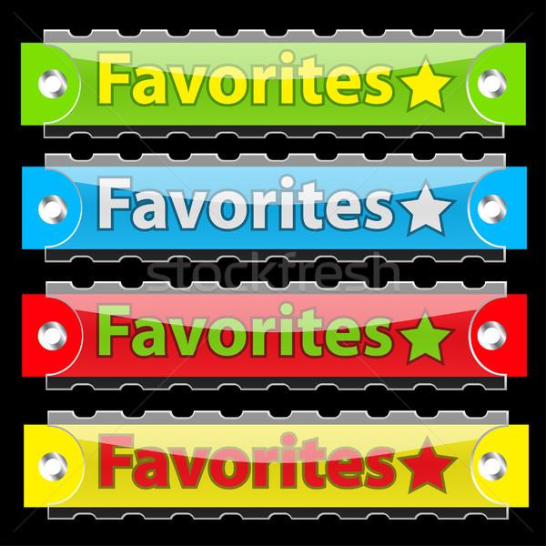 Wektora ulubione tag przyciski czarny Zdjęcia stock © SolanD