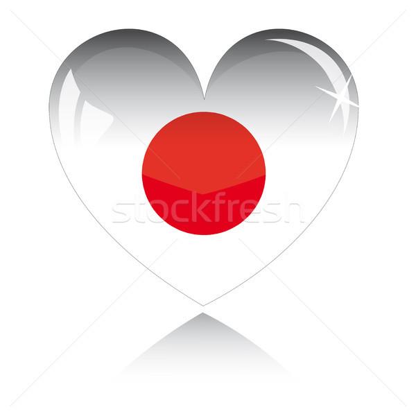 Vektor szív Japán zászló textúra izolált Stock fotó © SolanD