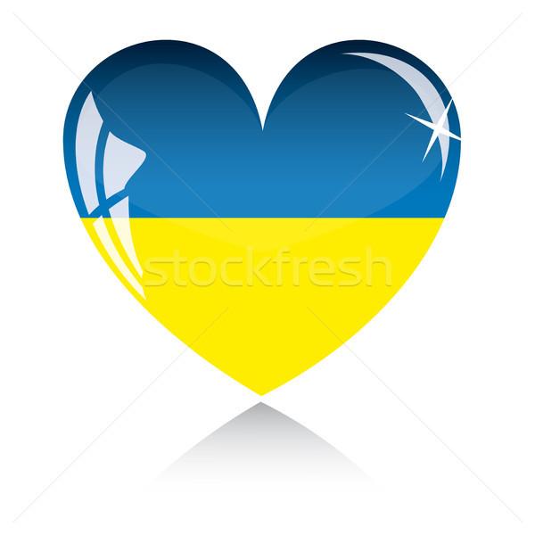 Vektor szív Ukrajna zászló textúra izolált Stock fotó © SolanD