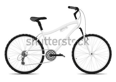 Vélo blanche vecteur eps8 montagne noir Photo stock © SolanD
