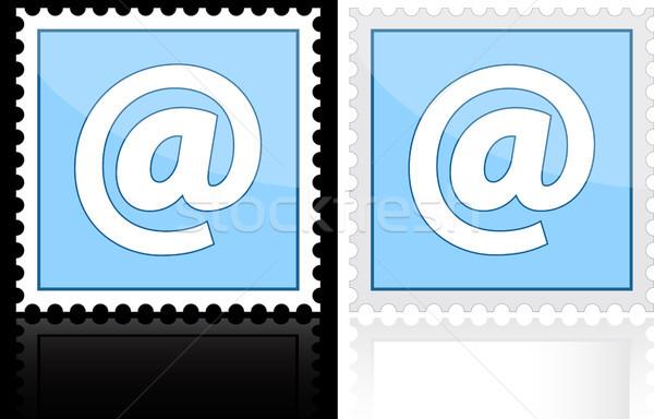 Ikon email kék fehér terv levél Stock fotó © SolanD