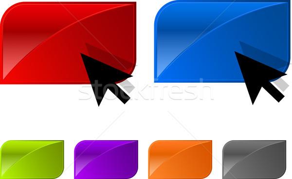 Vektor fényes gomb web design nyíl könnyű Stock fotó © SolanD