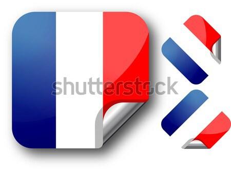 ステッカー フランス フラグ eps10 星 ボタン ストックフォト © SolanD