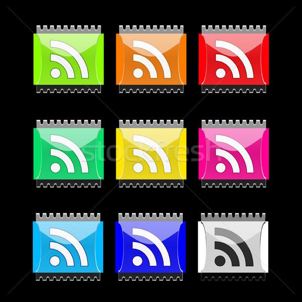 Rss rectangulaire vecteur boutons eps10 Photo stock © SolanD