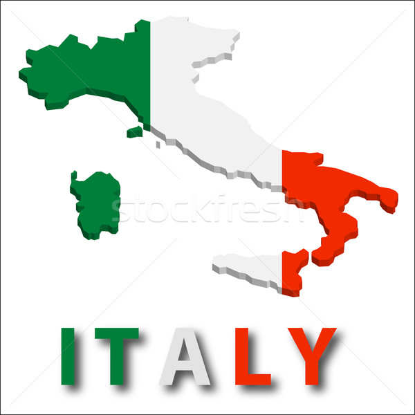 Italy territory with flag texture. Stock photo © SolanD