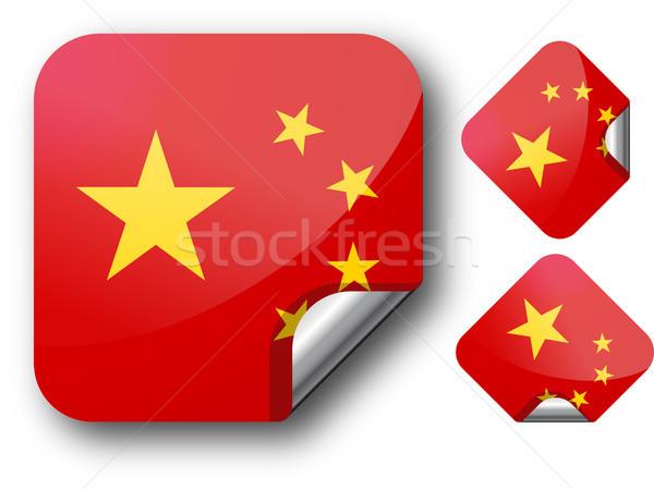 Matrica Kína zászló eps10 csillagok gomb Stock fotó © SolanD