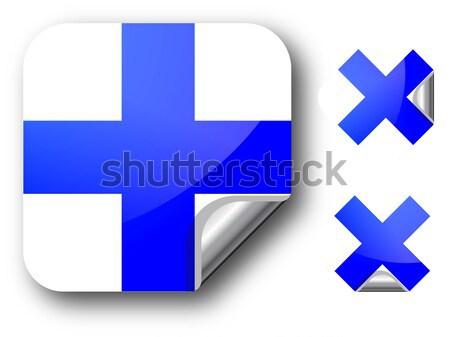 Sticker Finland vlag eps10 sterren knop Stockfoto © SolanD