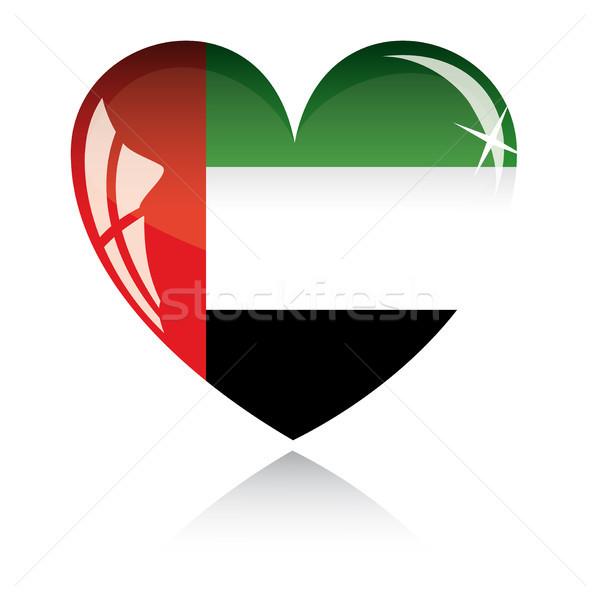 Vetor coração Emirados Árabes Unidos bandeira textura isolado Foto stock © SolanD
