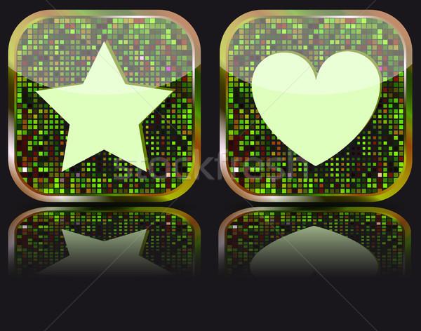 Fényes webes gomb kedvencek ikon háló 20 Stock fotó © SolanD