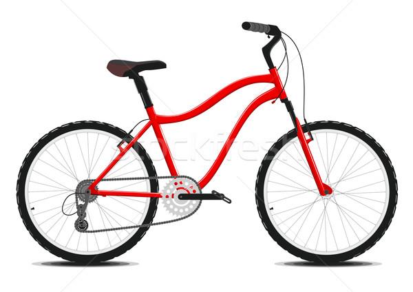 Piros bicikli fehér vektor eps8 hegy Stock fotó © SolanD