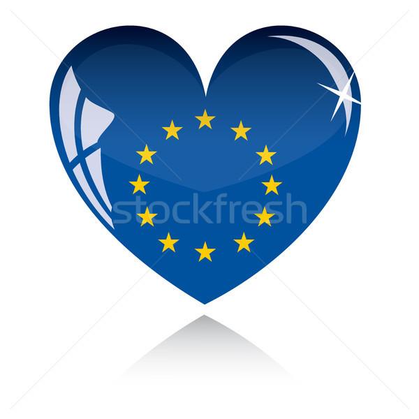 Vektor szív Európa zászló textúra izolált Stock fotó © SolanD