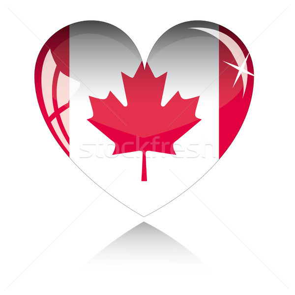 Vektor szív Kanada zászló textúra izolált Stock fotó © SolanD