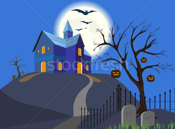 Cadılar bayramı kabak ev vektör eps8 dolunay uçan Stok fotoğraf © SolanD