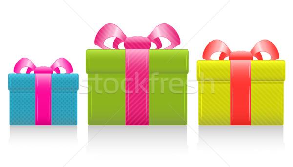 Vektor ajándék doboz selyem íj rózsaszín eps8 Stock fotó © SolanD