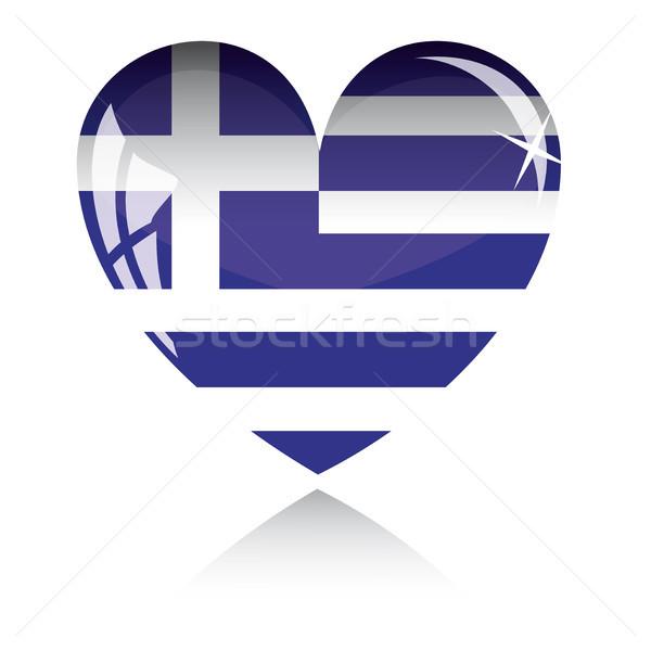 Vektor szív Görögország zászló textúra izolált Stock fotó © SolanD