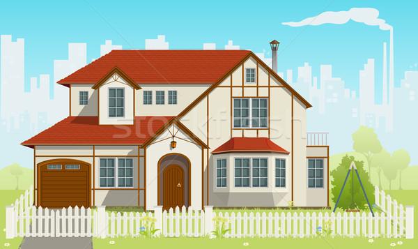 Family House. Vector illustration. EPS8 Stock photo © SolanD