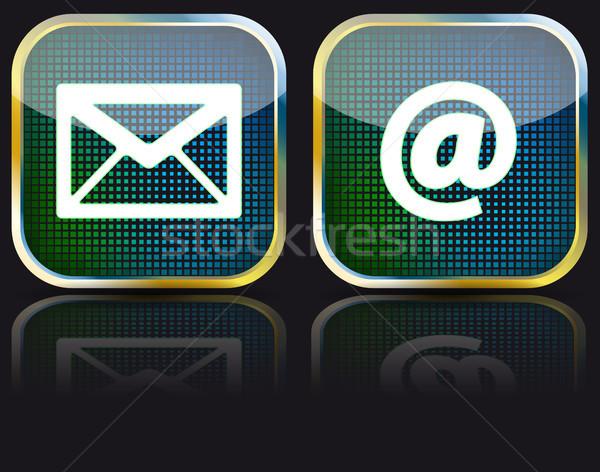 Ikon email fényes gomb eps10 levél Stock fotó © SolanD