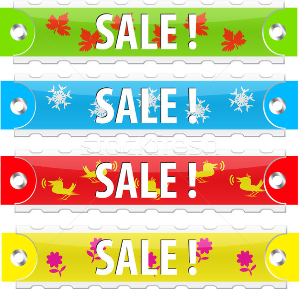 Vecteur vente tag boutons blanche Photo stock © SolanD
