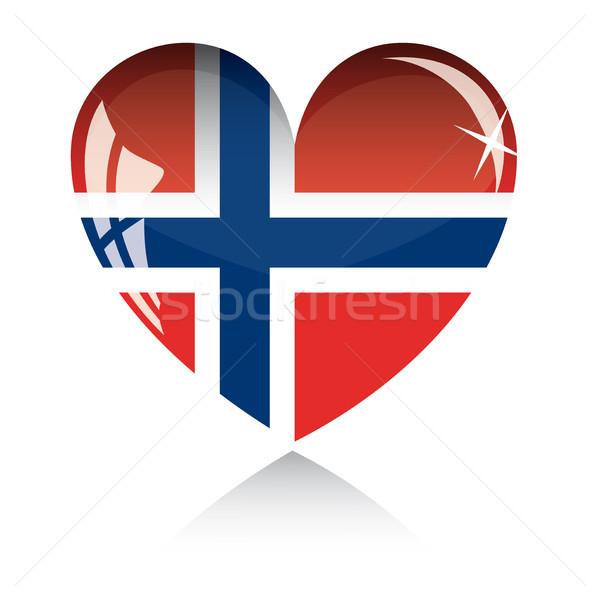 Vektor szív zászló textúra izolált fehér Stock fotó © SolanD