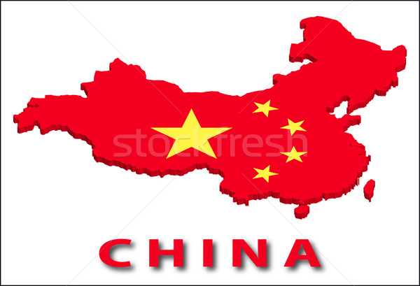 China territory with flag texture. Stock photo © SolanD
