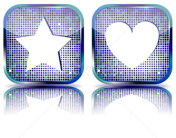 Glanzend favorieten icon web 20 Stockfoto © SolanD