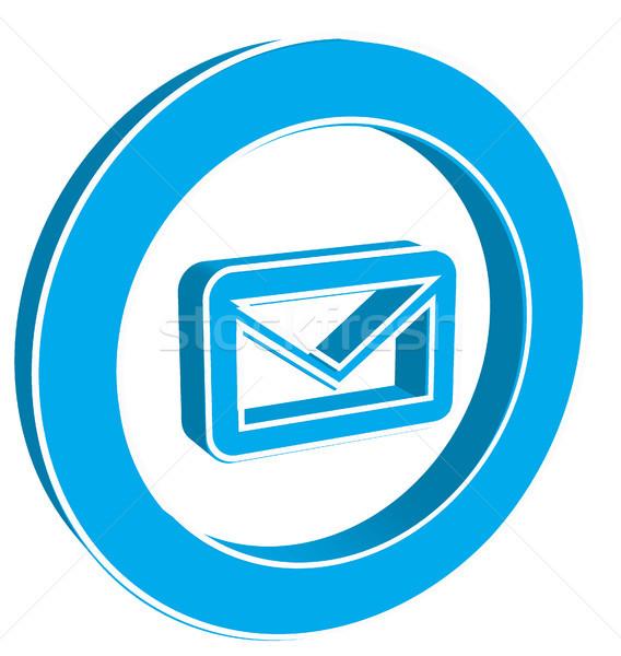 Ikon email kék fehér háttér levél Stock fotó © SolanD