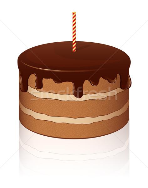 Vektor csokoládés sütemény ikon eps10 születésnap háttér Stock fotó © SolanD