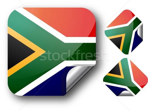 Sticker South Africa vlag eps10 knop tag Stockfoto © SolanD