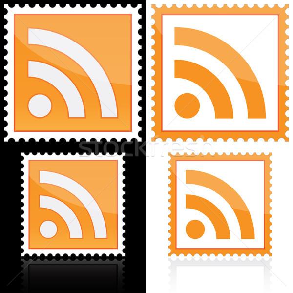 Rss ikona biały czarny komputera Internetu Zdjęcia stock © SolanD