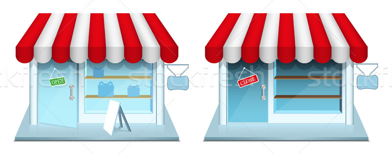 Stock photo: Shop with closed and open door. Vector Icons.