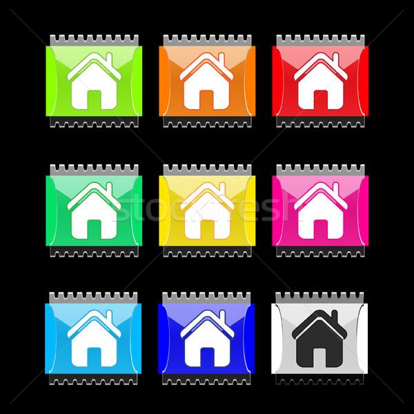 Casa rectangular vector botones establecer icono Foto stock © SolanD