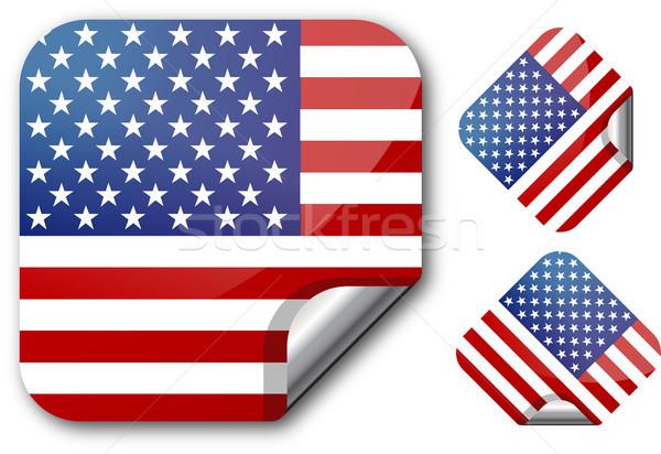 Vignette USA pavillon eps10 bouton tag Photo stock © SolanD