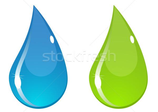 ベクトル 水滴 2 水滴 青 緑 ストックフォト © SolanD