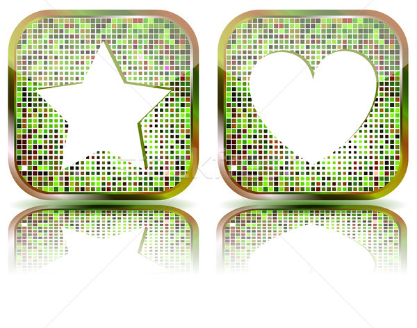 Glossy web button with favorites icon. Stock photo © SolanD