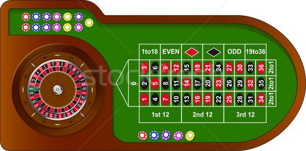 Rulett játék asztal színes sültkrumpli online Stock fotó © SolanD