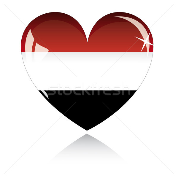 Vector heart with Egypt flag texture isolated on a white. Stock photo © SolanD