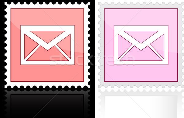 Ikon email rózsaszín fehér levél festmény Stock fotó © SolanD