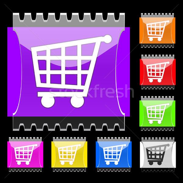 Basket rettangolare vettore pulsanti set icona Foto d'archivio © SolanD