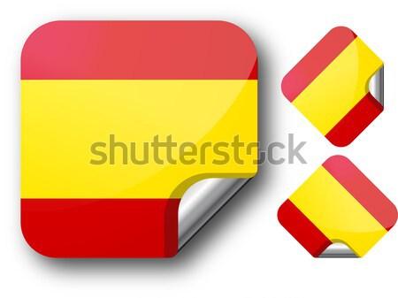Vignette Espagne pavillon eps10 étoiles bouton Photo stock © SolanD
