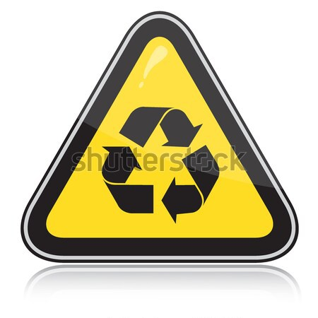 Yellow attention recycling sign Stock photo © SolanD