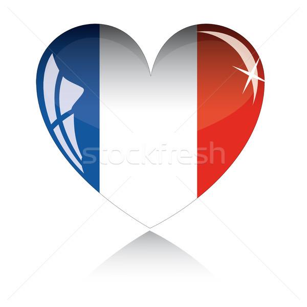 Vektor szív Franciaország zászló textúra izolált Stock fotó © SolanD