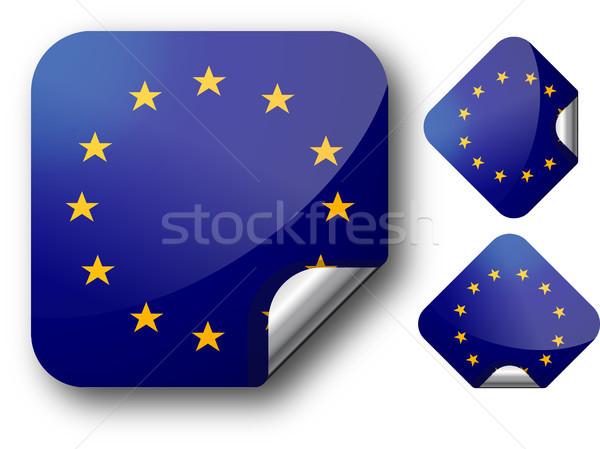 Matrica zászló eps10 csillagok Európa gomb Stock fotó © SolanD