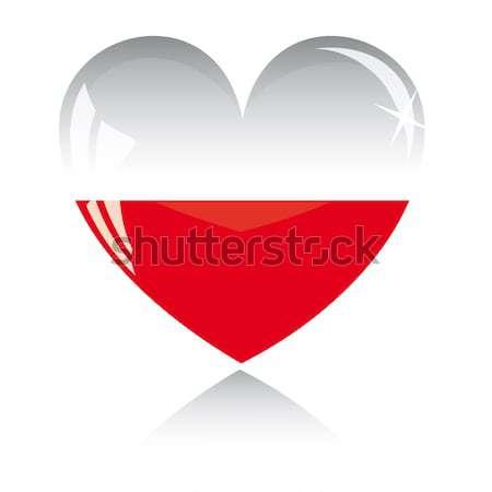 Vektor szív Lengyelország zászló textúra izolált Stock fotó © SolanD