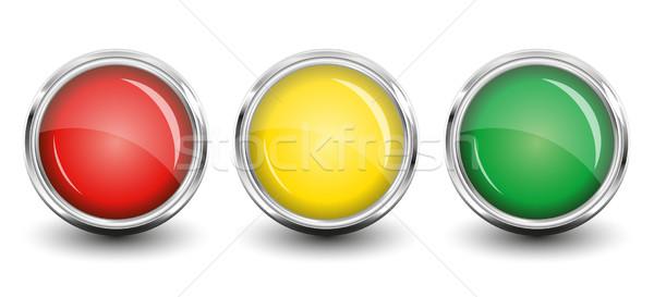 Fényes gombok piros citromsárga zöld árnyék Stock fotó © SolanD