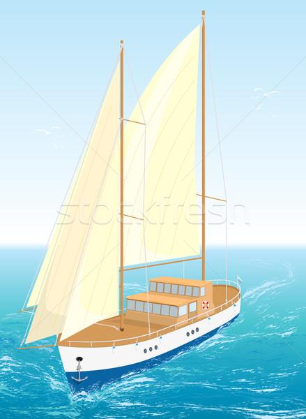 Zee schip eps8 zeilen golven water Stockfoto © SolanD