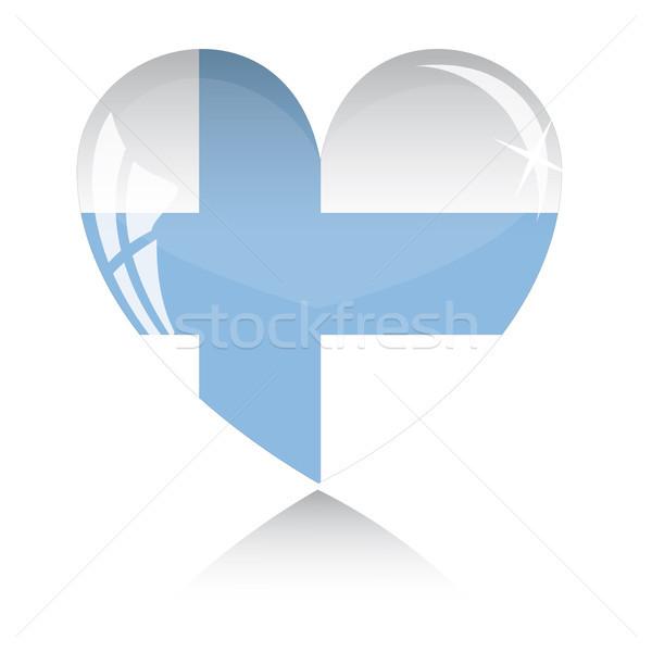 Vektor szív Finnország zászló textúra izolált Stock fotó © SolanD