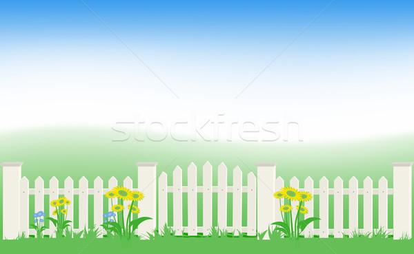 Herbe clôture ciel bleu eps8 nature art Photo stock © SolanD