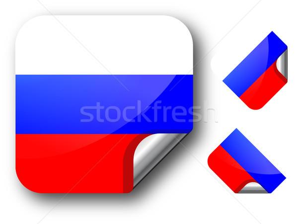 ステッカー ロシア フラグ eps10 星 ボタン ストックフォト © SolanD
